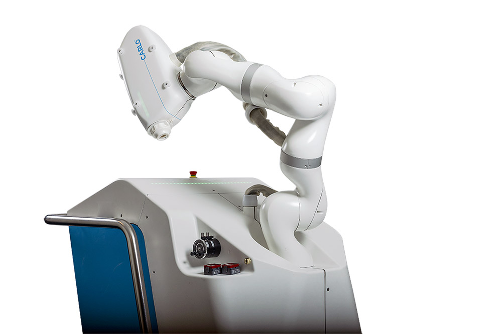 Advanced Osteotomy Tools' surgical robot CARLO® can reach any spot on the patients' body with its robot arm
